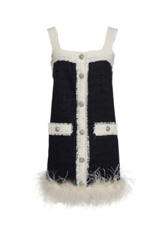 BLACK TWEED DRESS WITH FEATHERS