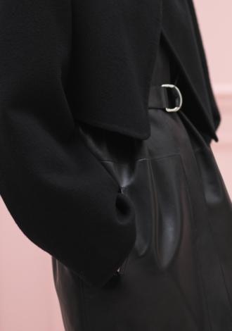 Hermès |Mixed materials leather coat|